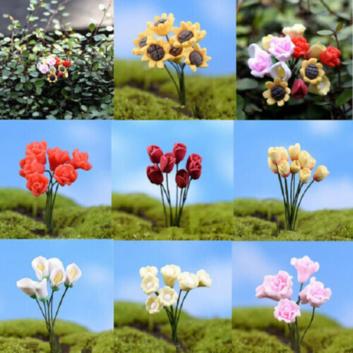 Miniature Dollhouse Simulation Flower Rose Fairy Garden  Bonsai Adornment Fp