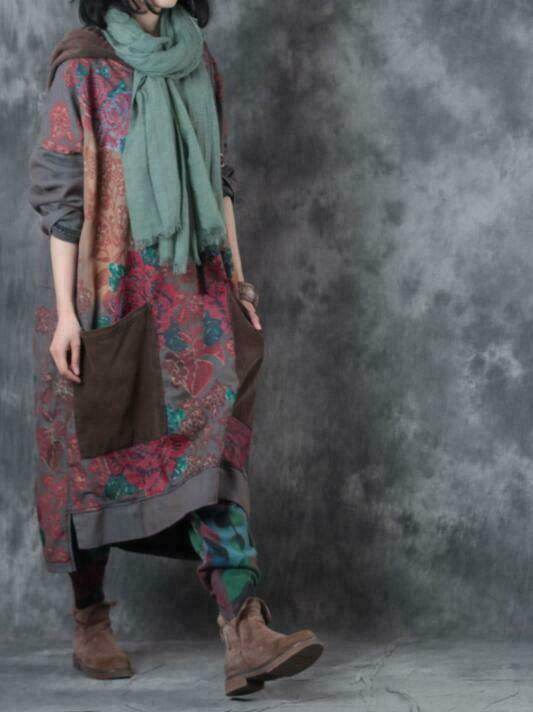 Ethnic Style Womens Sweaters Hooded Casual Floral Printed Cotton Coat Maxi Dress