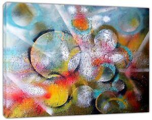 100% Vrai Cercles Abstrait Peinture à L'huile Re Imprimé Sur Encadrée Toile Mural Art Maison Décoration-afficher Le Titre D'origine Doux Et LéGer