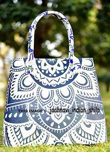 Blue-Mandala-Indian-Tote-Bag-Shoulder-Handbag-Cotton-Women-Satchel-Purse-Lady
