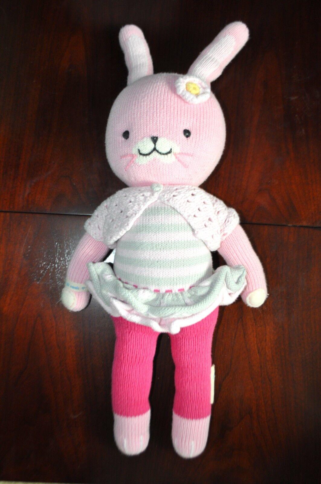"Cuddle + Kind Plush Chloe The Bunny Rabbit Rosa Hand Knit Doll 20"" Stuffed Toy"