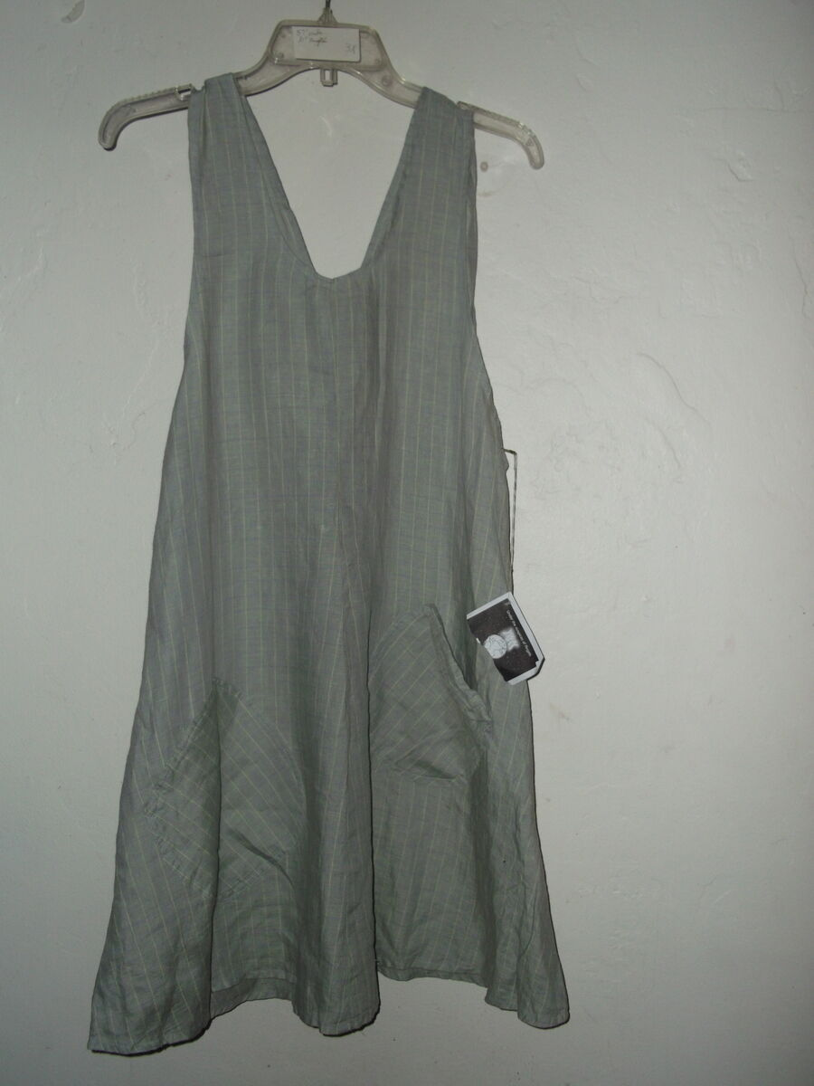 NEW Engelhart Flax JOYOUS JUMP LINEN DRESS in Grasshopper Screen & Smoke