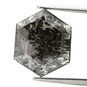 Big Real Natural Diamond 2.32TCW Galaxy Gray Sparkling Hexagon Rose Cut for Gift