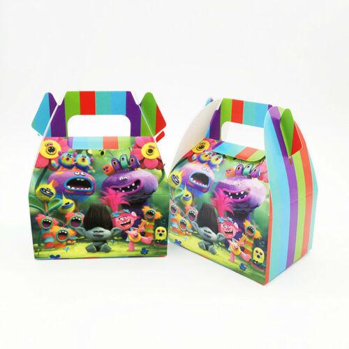 6 un niños Lovely Trolls Niños Fiesta Candy Caja Feliz Cumpleaños Suministros favor