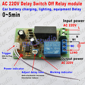 AC 220V 230V 240V Trigger Delay Timer Switch Turn Off Board Timing