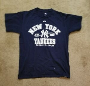 Men-039-s-MLB-New-York-Yankees-Baseball-Navy-Blue-White-Jeter-A-Rod-T-Shirt-Size-M