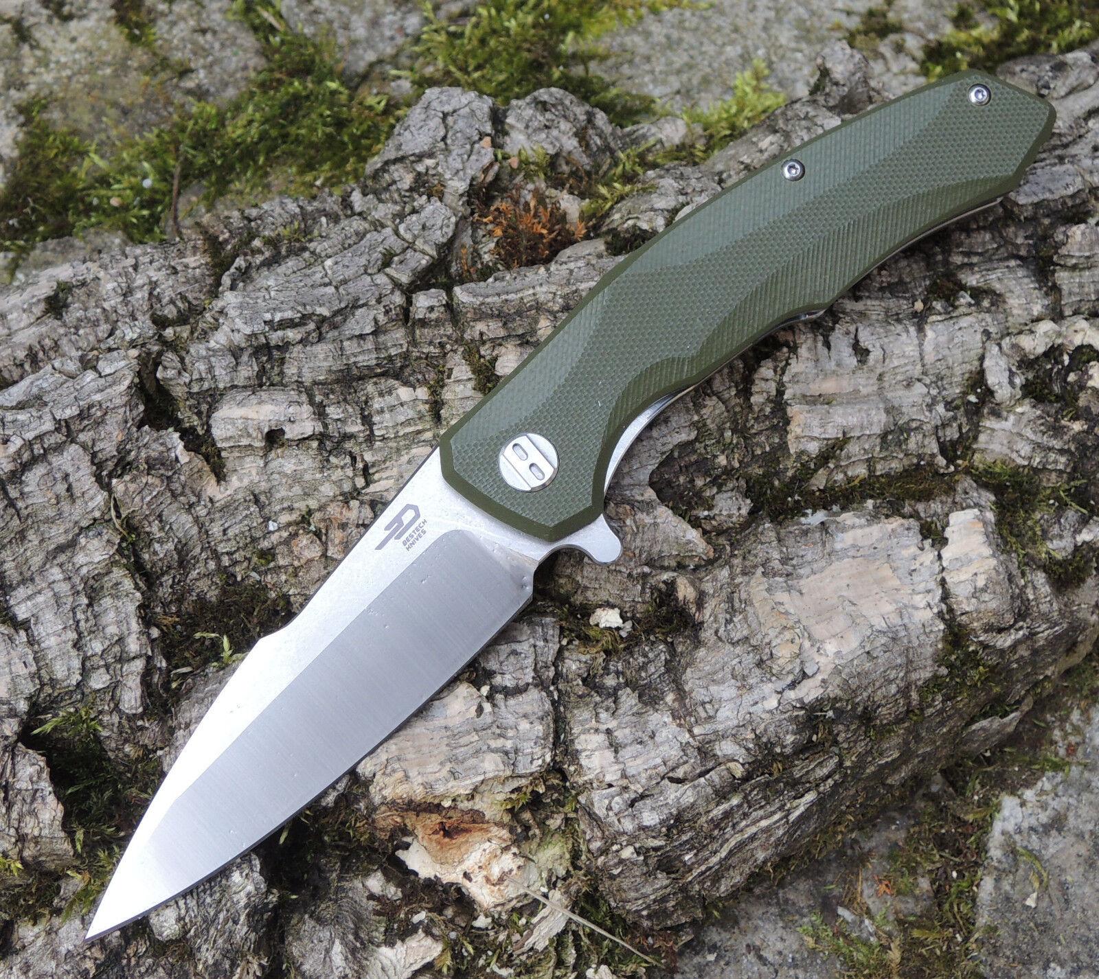 Bestech BG04B Knives WARWOLF BG04B Bestech OLIVE Messer D2 Stahl G10 Griff Kugellager 1332e5