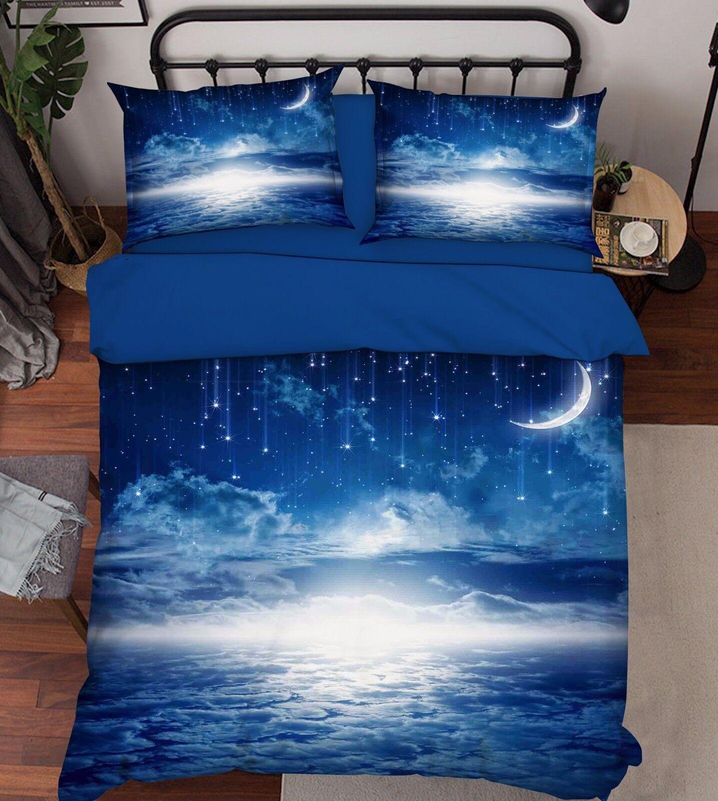 3D Stars Sky 201 Bed Pillowcases Quilt Duvet Cover Set Single Queen King Dimensione AU