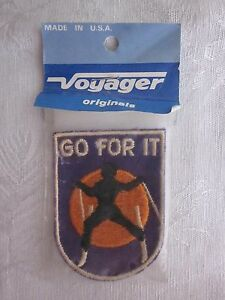 Vintage-Embroidered-039-Go-For-It-039-Ski-Skiing-Patch-Voyager-Brand-NOS-Made-in-USA