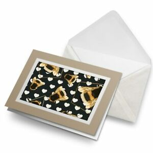 Greetings-Card-Biege-Art-Deco-Gold-Bumble-Bees-Fun-2255
