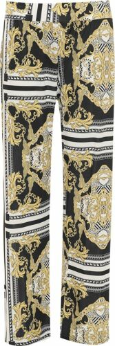 New Women/'s Plus Size Baroque Scarf Print Wide Flared Leg Palazzo Trousers Pants