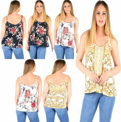 Ladies Style Sleeveless Cami Vest Top Swing Strappy Floral Tie Dye Tops UK 8-26