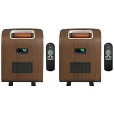 (2) Lifesmart 1500 Watt Slim Compact Portable Infrared Quartz Electric Heaters