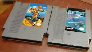 Nintendo NES Silent Service & Magic Johnson Fast Break cleaned, tested authentic