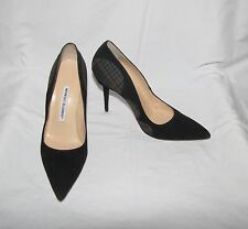Manolo Blahnik Blk w/Plaid Detail Suede Pointy Toe Stiletto High Heel Pumps 37.5