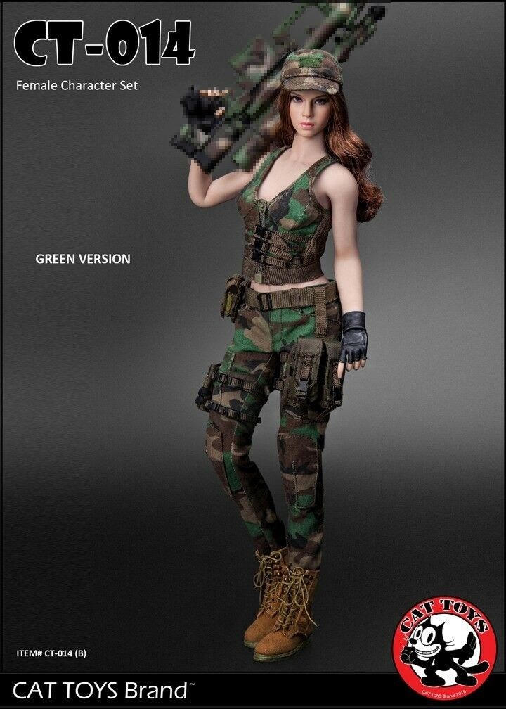 1 6 Scale CATTOYS CT014B Military Female Box Cloth Set B Green No body