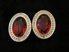 D.S. Co. Daniel Swarovski Signed Clear & Ruby Red Crystal Clip On Earrings