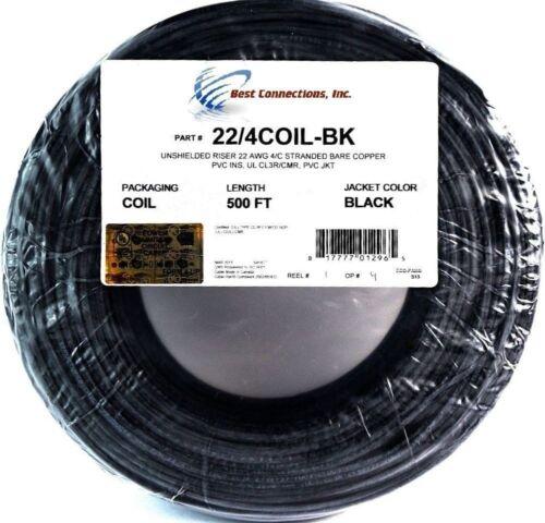 500/' pieds noir 22 Gauge 4 conducteur Stranded cuivre Alarme Fil Câble de sécurité