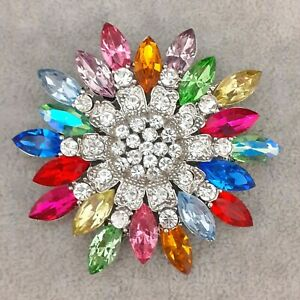 A-Fabulous-amp-Unique-Large-Vintage-Style-Rainbow-Coloured-Flower-Brooch-Pin