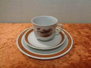 Colditz-Porcelana-3-Piezas-Gedeck-Caza-Motivos-Animales-Para-Ruso-Export
