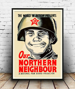 Our-Northern-Neighbour-Vintage-propaganda-Reproduction-poster-Wall-art