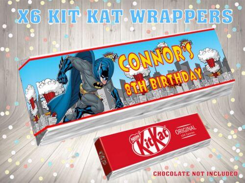 PERSONALISED BATMAN  Kit Kat Label Wrappers Ideal Party Bag Filler