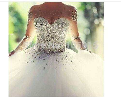 Luxus Brautkleid Ballkleid Abendkleid Kristall Organza Lange Hochzeitskleid 32++