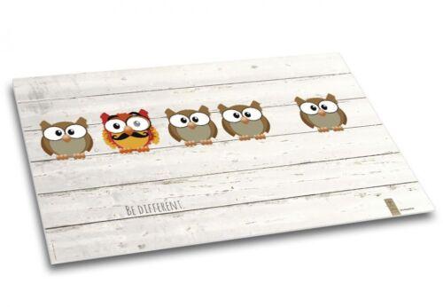 """Kinder Schreibtischunterlage Papier 40 Blatt DIN A2 /""""Be different./""""Eulen"""