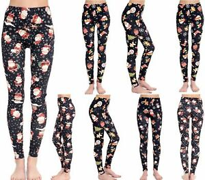 5114d0e679dd5 Image is loading New-Women-Ladies-Christmas-Printed-Stretchy-Full-length-