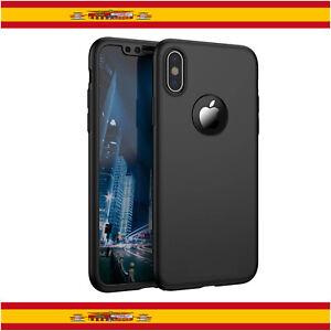 "360 Funda Carcasa Case + Protector Cristal Templado Para iPhone X 5,8"" Negro"