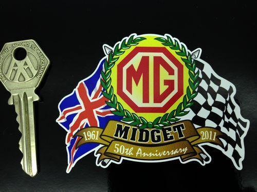 MG MIDGET 50th ANNIVERSARY Flags /& Scroll car sticker
