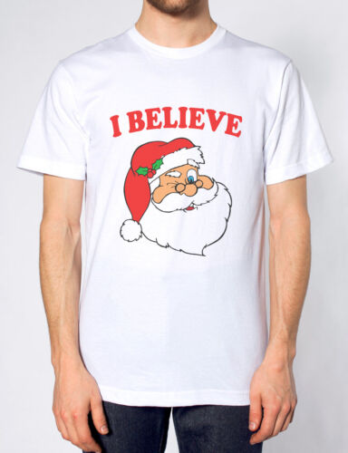 I BELIEVE IN SANTA T SHIRT FATHER CHRISTMAS FUNNY MAGICAL TOP MEN WOMEN KIDS