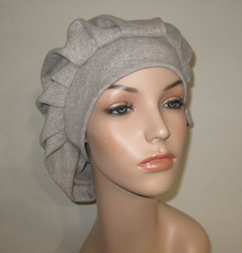 Womens Gray Pleated Snood Alopecia Muslim Religious Modest Hair Covering Chemo