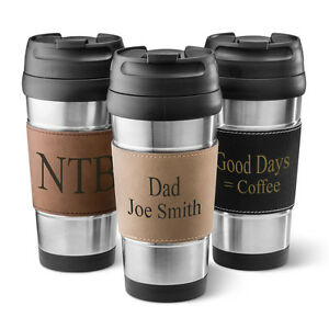 STAINLESS-STEEL-TRAVEL-MUG-COFFEE-TUMBLER-w-Personalized-Leatherette-Holder