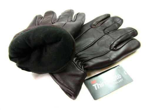 Mens New Premium Soft Thinsulate Fleece Lined Brown Real Leather Gloves Winter
