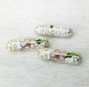 Vintage-White-w-Pink-Blue-Flowers-Cloisonne-Chinese-Enamel-Tube-23x7mm-3PCs