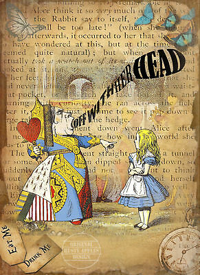 """ALICE IN WONDERLAND QUEEN OF HEARTS QUOTE METAL SIGN 8/"""" x 6/"""" LOVELY GIFT"""