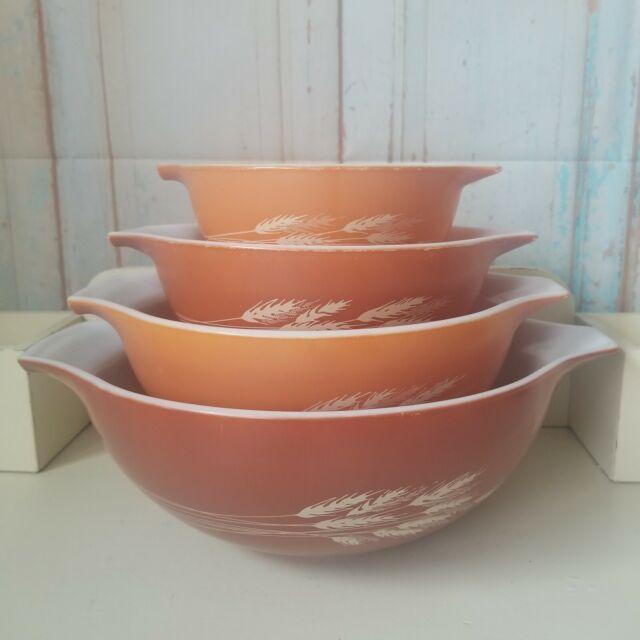 Vintage Pyrex Autumn Harvest nesting bowls Set of 3 Very