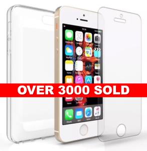 IPhone-SE-Ultra-Delgado-Estuche-De-Gel-De-Silicona-Cubierta-y-Prtotector-pantalla-de-vidrio-templado
