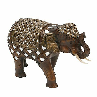 Wood Mirror  Effect  Elephant Trunk Up  Figurine Ornament By Juliana