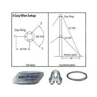 Antenna Guy Wire & Clamps Kit 20' Ft Telescoping Mast Down Guy Wire 3 Way Kit