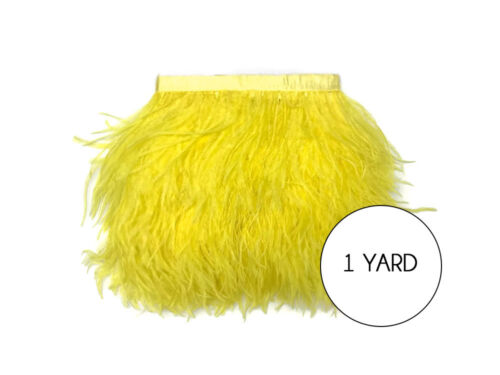 Yellow Ostrich Fringe Trim Wholesale Feather Halloween Prom Dress Craft 1 Yard