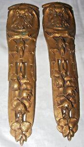 2 Antique Français Bronze Doré Meubles Fronton Accessoire Fleurs Fruit NUQ1p0BY-07195611-263402762
