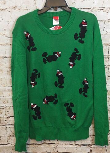 Mickey Mouse Christmas Sweater mens 2XL green santa disney XXL new P5
