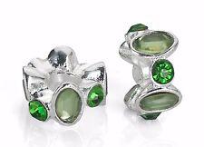 Green Rhinestone European Silver Spacer Beads For European Charm Bracelets