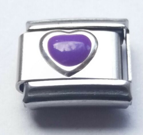 Púrpura amor corazón pulsera con dijes se adapta Classic 9mm italiana encantos enlace