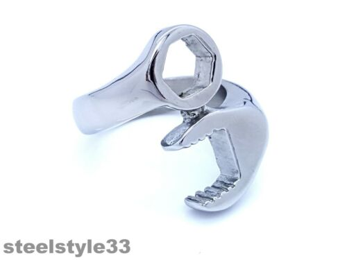 MEN/'S WOMEN/'S STAINLESS STEEL 316L RING WRENCH DESIGN SILVER GLOSS TONE