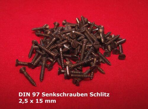 100 Holzschrauben Senkschrauben brüniert DIN 97 2,5 x 15 mm Schlitz