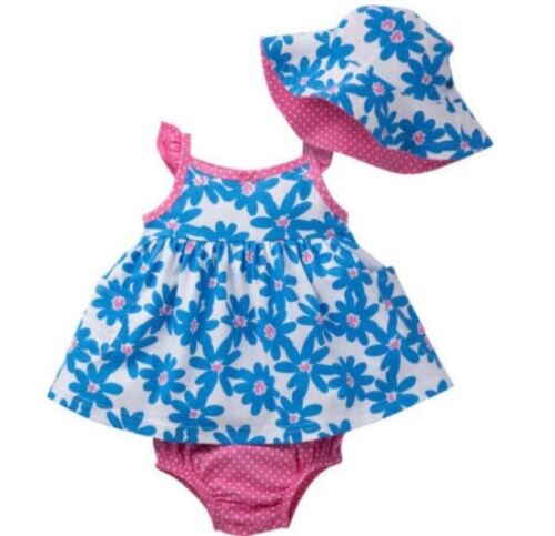 GERBER BABY GIRL 3-Piece Set Dress Panties /& Cap Baby Shower Gift Baby Clothes