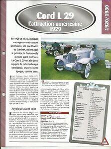 FICHE AUTOMOBILE - LA CORD L 29 DE 1929 BDQ0JL2D-09153520-168283353